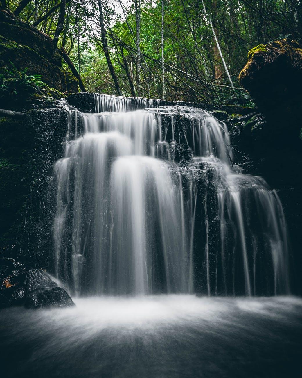 long exposure shot of a cascade